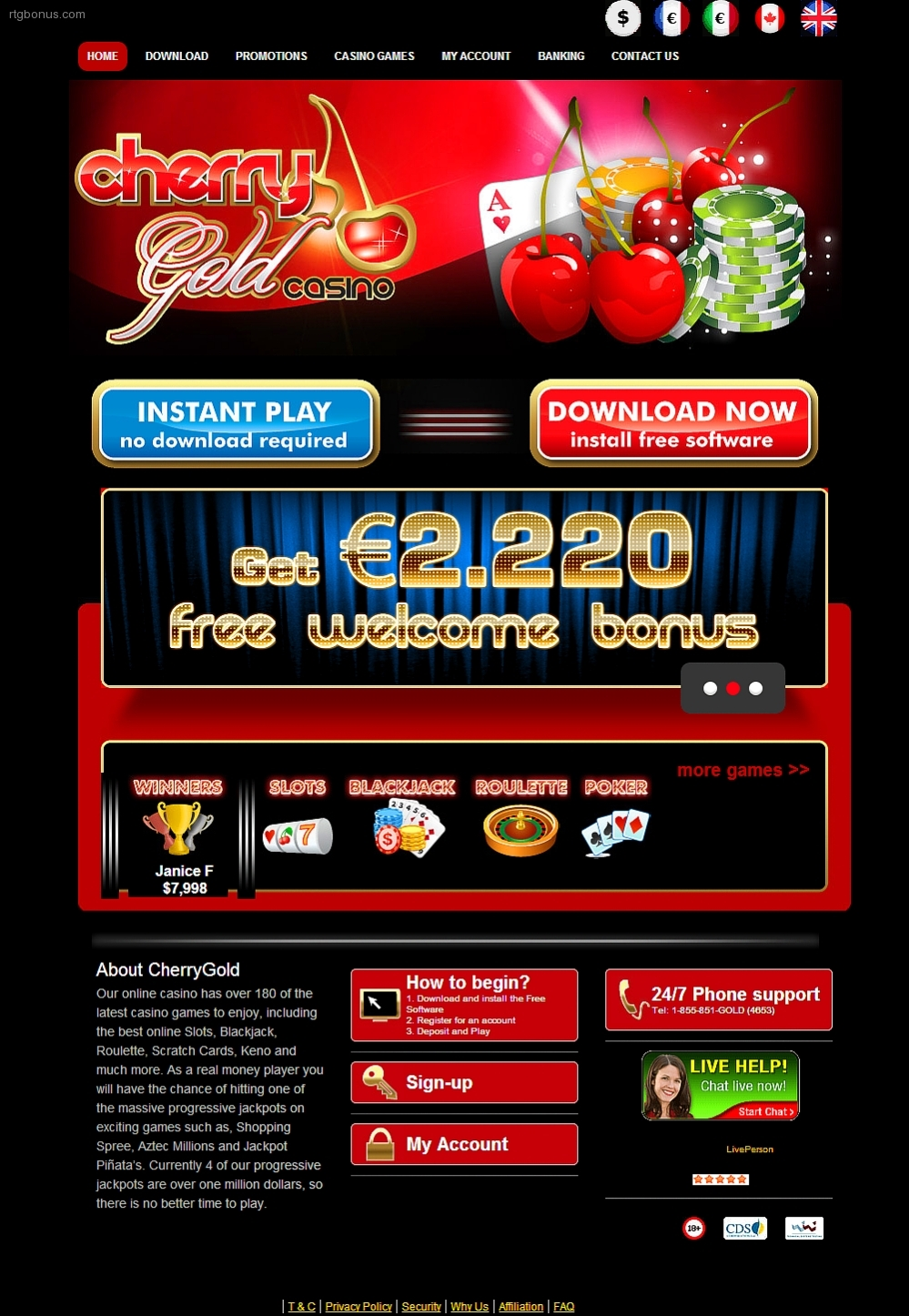 405% Deposit match bonus at Box 24 Casino