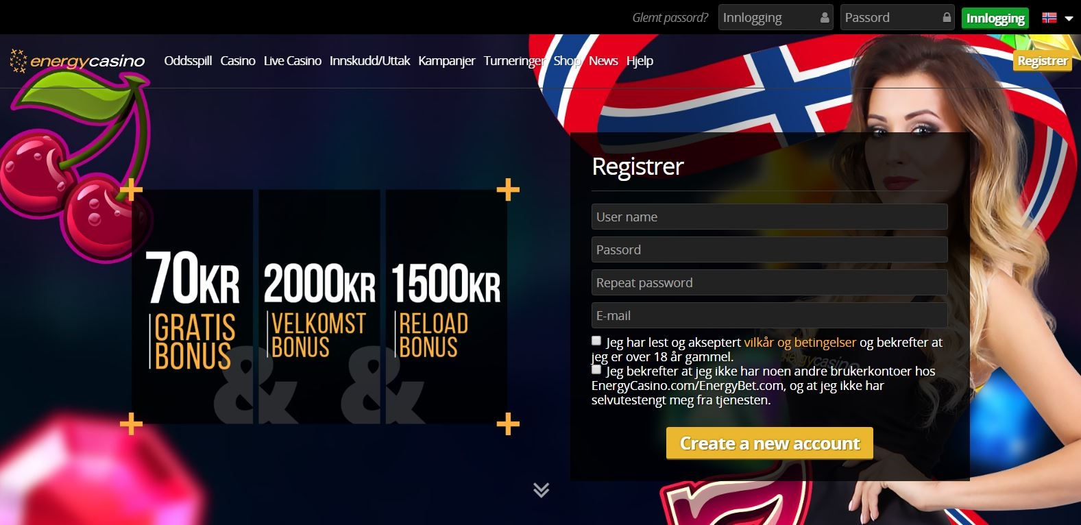 EUR 2780 No deposit casino bonus at Casino.com