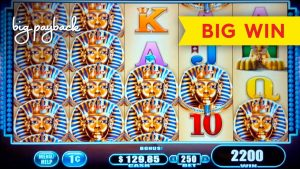 დიდი Tutankhamen's Mysteries Slot - BIG WIN RETRIGGER BONUS!