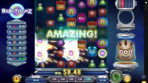 Vitória em linha do casino de Reactoonz grande!