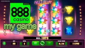 My game in Starburst casino slot at 888 Casino Online. It is my favorite game.