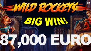 GRANDE GANHA 87,000 EURO no slot do Wild Rockets Casino!