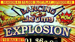 NEW Dancing Drums EXPLOSION Slot Machine $10 Max Bet Bonus & HUGE WIN | Season 4 | EPISODE #9