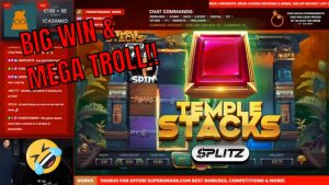 Temple Stacks Splitz BIG Win and TROLL !!