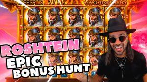 ROSHTEIN Huge win 35.000 € on Sword of  Khans  slot  – Epic Bonus Hunt on Stream