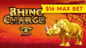 JACKPOT უკეთესი - Wonder 4 Boost Rhino Charge Slot - BIG WIN BONUS!