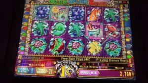 Big Win! Mystical Mermaid slot machine bonus round at Empire City casino