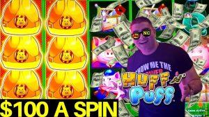 $100 A Spin High Limit Huff N Puff Slot Machine – 2 Handpay Jackpots |Live Slot Play At Vegas Casino