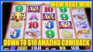 WOW ENORME WINST TOT $ 10! VROUW MAAKT EEN KOM TERUG BUFFALO GOUDEN SLOTMACHINE