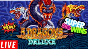 5 Dragons Deluxe Slot Machine SUPER BIG WIN - Live Stream Slot Play Vum HARRAH'S Casino