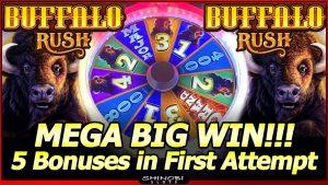 Buffalo Rush Slot – Mega Big Win in First Attempt!  5 Bonuses in New Aristocrat Slot Machine!