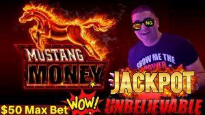 High Limit MUSTANG MONEY Slot Machine HANDPAY JACKPOT – $50 Max Bet | How Many Re-Triggers I Got?