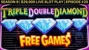 Triple Double Diamond Slot Machine $15 Max Bet Bonus & Huff N Puff Bonus Won | SE 9 | EP #26