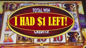 $1 LEFT into BIG WIN! ON BUFFALO GOLD SLOT MACHINE!