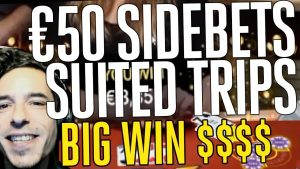 Blackjack – Big Win! 😱 Suited Trips on Live Casino with €50 Sidebets!