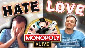 Love-detest mënschlech Bezéiung mam Monopol Live Wheel + grouss WIN !!