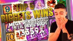 TOP 5 BIGGEST WINS inward casino bonus TWITCH   MEGA WIN tape inward LIL DEVIL SLOT