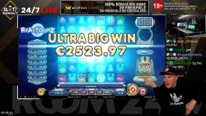 """didelis LAIMĖK !!! Internetinio kazino premija """"Slot Reactoonz"""" (""""Play'n GO"""") """"Garga"""" - statymas 5 € Laimėk 5.192 € (1.038)"""