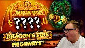 €20 Bet large WIN on Dragon's flaming Megaways!