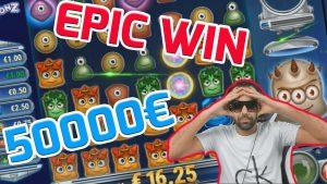 EXTRA WIN! Streamer win 50.000€ on Reactoonz Slot! BIGGEST WINS OF THE calendar week! #3