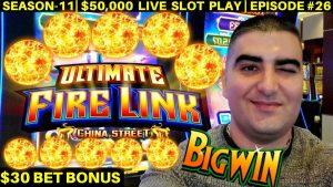 High bound Ultimate flaming Link Slot Machine $30 Bet Bonus & large WIN | flavour-11 | EPISODE #26