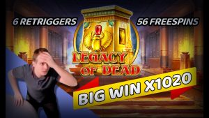 LEGACY OF DEAD 💥 6 RETRIGGERS = 56 liberate SPINS 🤑 large WIN [X1020]