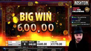 Roshtein large WIN- 10230.00 EUR Bonus Game inwards Online casino bonus Tigers Glory slot