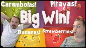 Winning large on Fruit Warp – Several Bonuses!