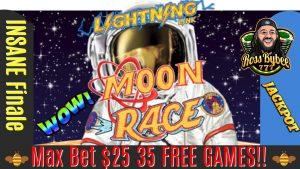 الجائزة الكبرى الثالثة! 3 الافراج عن العاب ماكس الرهان 35 دولارا !! دورة Lightning Link Luna Race Finale JACKPOT