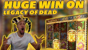 HUGE WIN on LEGACY OF DEAD! 4 RETRIGGERS! large WIN on Online Slot!