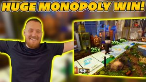 HUGE WIN on MONOPOLY LIVE! 4 ROLLS with €100 BET! large Live casino bonus WIN!