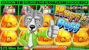 High bound Huff N Puff Slot Machine Bonuses & large WINS – $25 Max Bet| flavour-12 | Episode #24