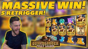 MASSIVE WIN on GUNSLINGER: FULLY LOADED! 5 RETRIGGER! large WIN on Online Slots!