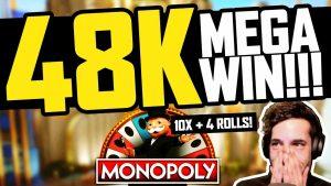 MONOPOLY LIVE – €48000 LIVE casino bonus large WIN (10X + 4 ROLLS)
