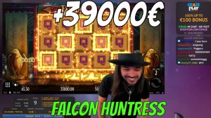 Roshtein large WIN inward Falcon Huntress + 39000€ from 2 spins