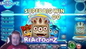 large Win ★ Reactoonz ★ Play´n GO slot, played on Vihjeareena´s flow