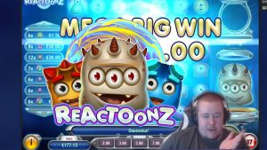 large Win ★ Reactoonz ★ Play'n'Go slot, played on Vihjeareena´s current