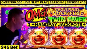 ✦3 HANDPAY JACKPOTS✦ On High bound Konami Slot Machine – upwardly To $45 Bet Bonus| flavor-1 | Episode #13