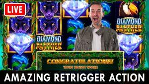 💠 AMAZING RETRIGGER activity!  🎰 Diamond Panther large WIN @ PlayChumba casino bonus ✪ BCSlots #advert