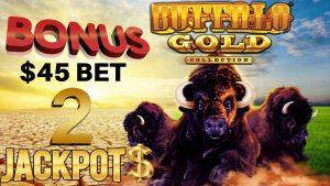 ⭐️ Buffalo atomic number 79 (2) JACKPOT HANDPAYS  ⭐️HIGH boundary $45 SPIN BONUS circular Slot Machine casino bonus ⭐️