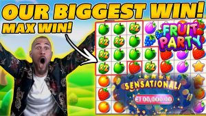 CLASSYBEEF'S BIGGEST WIN EVER! FRUIT political party MAX WIN! tape WIN on Online Slots!