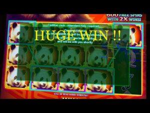 Handpay Max bet Huge win retriggers FU PANDA slot inward Morongo casino bonus