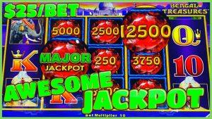 ⚡️Lightning Link Bengal Treasures MASSIVE MAJOR JACKPOT HANDPAY⚡️HIGH boundary $25 MAX BET Slot Machine