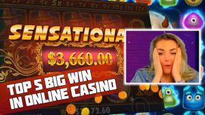 TOP 5 large WIN inward ONLINE casino bonus. HUGE WIN inward GAMBLING. casino bonus GAMES