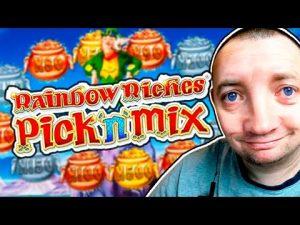 dorsum To dorsum large WIN na Rainbow Riches Slot!