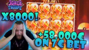 cinta WIN X8000! + 58.000 € EN 7 € APUESTA TROUPE JOKER ⚡ Bono de casino EN LÍNEA grande GANAR
