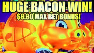 ★HUGE BACON large WIN!★ MY BIGGEST $8.80 MAX BET BONUS 🐷 RAKIN BACON Slot Machine (AGS)