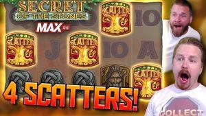 4 SCATTER bonus inwards Secret of The Stones MAX – large win