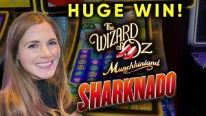Чоң Жеңиш! Munchkinland ошондой эле Sharknado Slot Machines! Бонустар! Укмуш Witch мүнөздүү !!