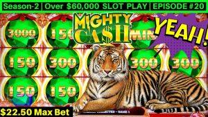 Mighty Cash Double upwards Slot Machine HUGE WIN -$22.50 Max Bet   flavor-2   EPISODE #20